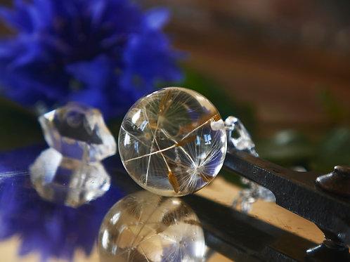 Dandelion seed resin sphere necklace