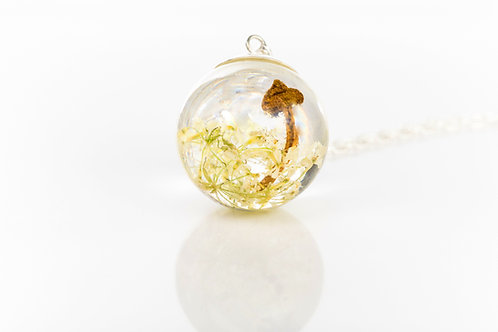 Wild mushroom and Queen Anne's lace sterling silver resin sphere necklace