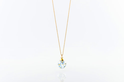 Water forget me not resin sphere gold fill necklace