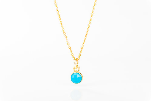 Tiny turquoise gold fill precious gemstone necklace