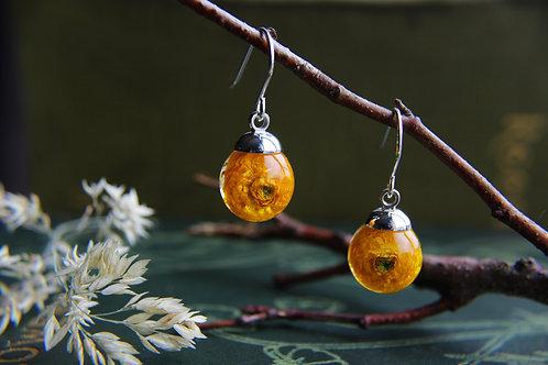 Ukrainian tiny ranunculus sterling silver drop earrings