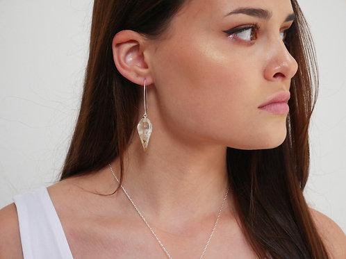 Dandelion seed sterling silver faceted pendulum threader earrings