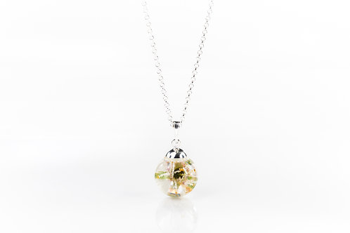 Victoria plum blossom sterling silver resin sphere necklace
