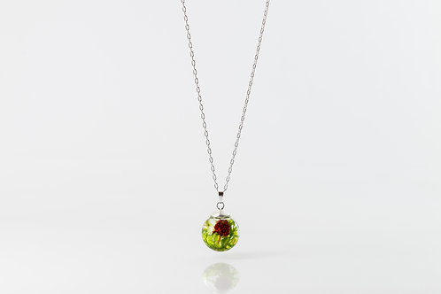 Wild strawberry and moss resin sphere sterling silver necklace