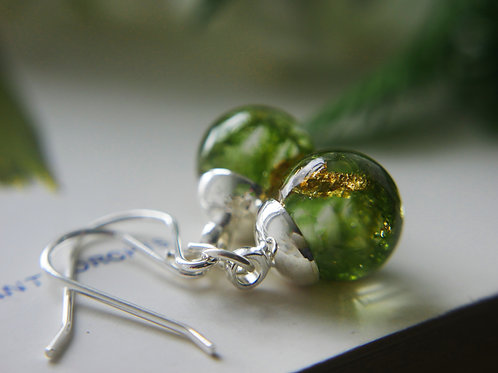 English moss and gold sterling silver drop earrings