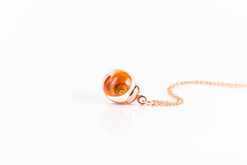 Sea shell resin sphere rose gold fill necklace