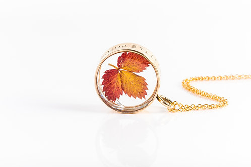 Wild strawberry leaf brass and gold fill engraved open locket necklace