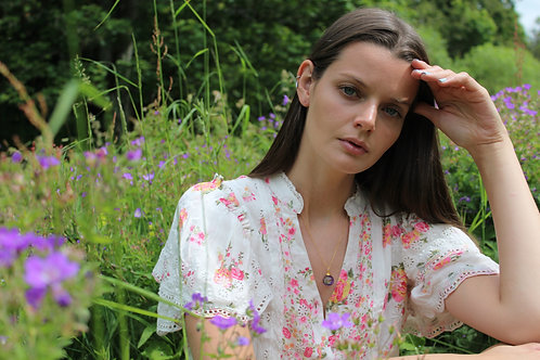 Wild geranium larger resin sphere gold fill necklace
