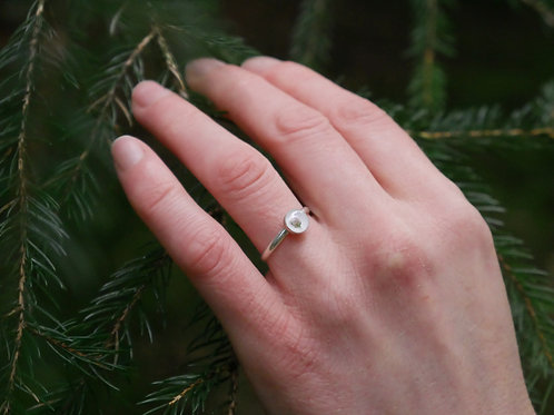 Heather bud sterling silver stacking ring