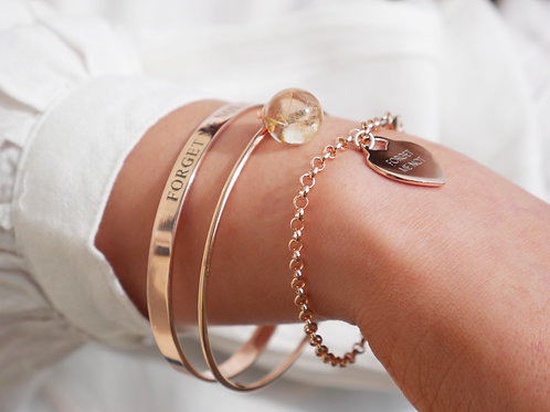 Dandelion seed thin stackable rose gold plated sterling silver bangle