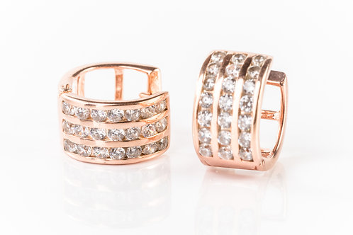 Crystal rose gold plated sterling silver hoops