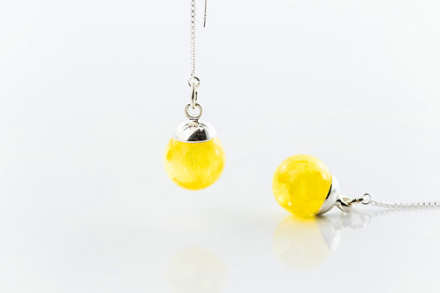 Primrose tiny resin sphere sterling silver threader earrings