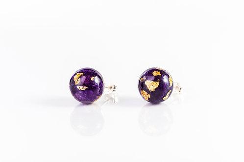 Crocus petal and gold sterling silver stud earrings