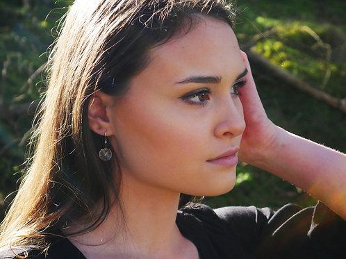 Dandelion seed black sterling silver earrings