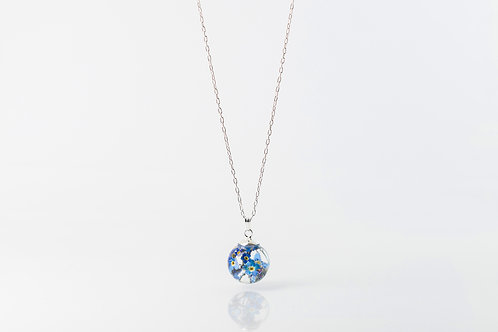 Forget me not sterling silver resin sphere necklace