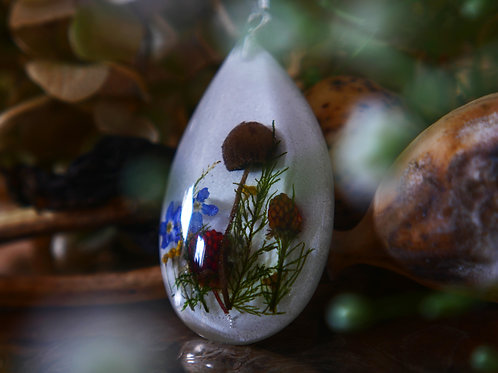Wild mushroom, forget me nots and moss sterling silver pendant