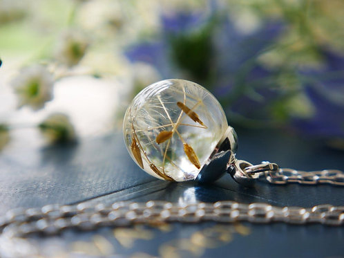 Tiny Scottish dandelion seed sterling silver resin spherenecklace