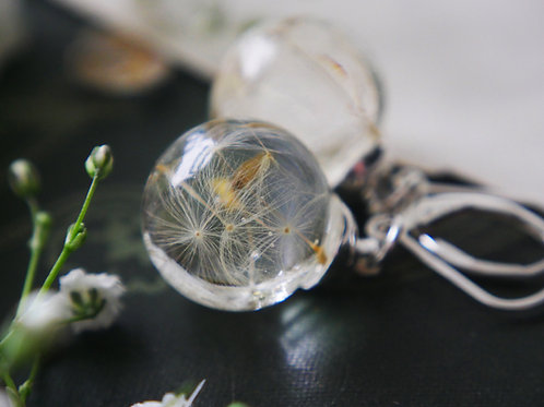 Dandelion seed sterling silver lever back earrings