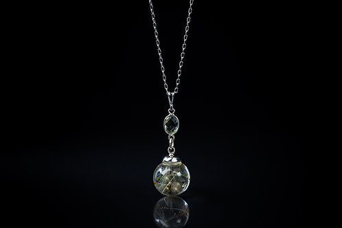 Dandelion seed and green amethyst sterling silver resin sphere necklace