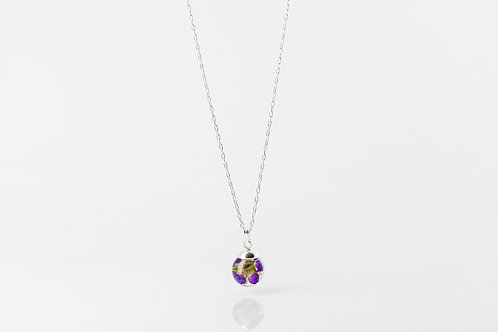 Wild geranium resin sphere sterling silver necklace