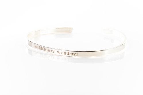 Wildflower wonderer engraved sterling silver bracelet cuff