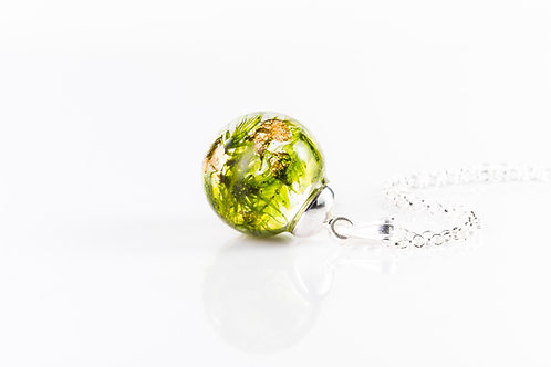 Larger moss and gold sterling silver resin sphere necklace