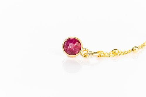 Tiny ruby gold fill precious gemstone necklace
