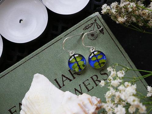 Spleenwort fern sterling silver drop earrings