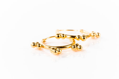 Tiny tribal hoops gold plated sterling silver
