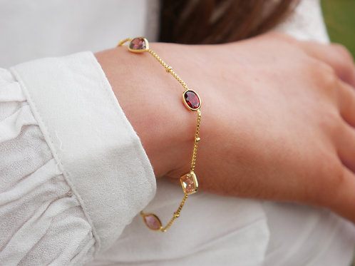 Crystal gemstone gold plated sterling silver bracelet
