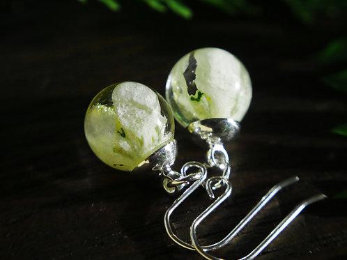 Snowdrop resin sphere sterling silver drop earrings