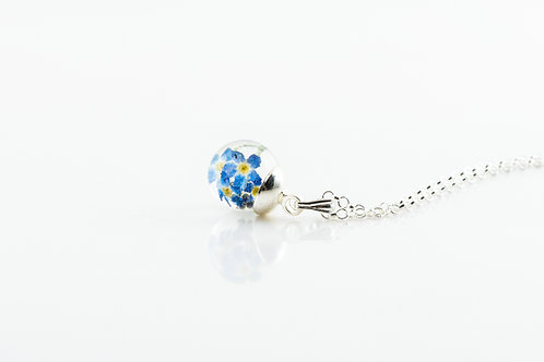 Tiny forget me not resin sterling silver resin sphere necklace