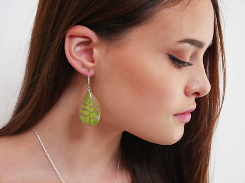 Fern teardrop sterling silver drop earrings