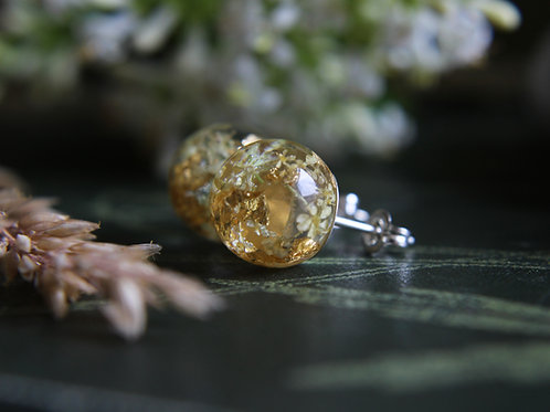 Queen Anne's Lace and gold sterling silver resin studs