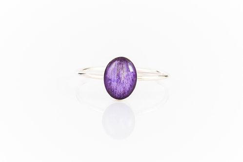 Wild violet petal sterling silver resin stacking ring
