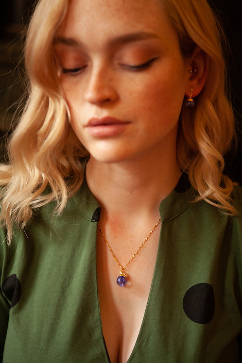 Bluebell rope chain gold necklace