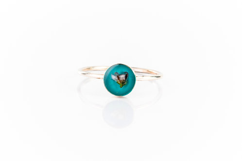 Tiny heather bud on turquoise background sterling silver stacking ring