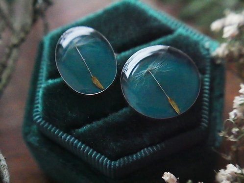 Single circle teal Dandelion seed sterling silver stacking ring