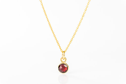 Tiny garnet gold fill precious gemstone necklace