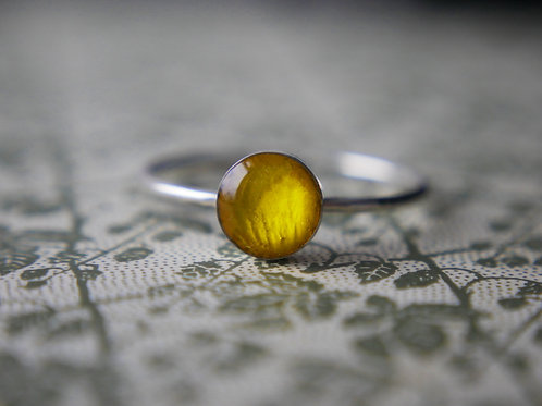 Buttercup petal stacking ring in sterling silver