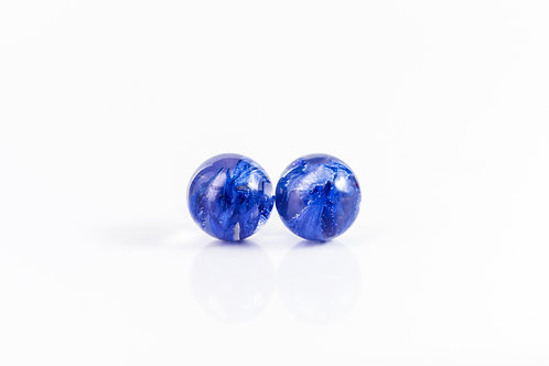 Scottish blue cornflower petal sterling silver resin stud earrings