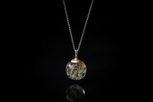 Larger Scottish dandelion seed sterling silver resin sphere necklace