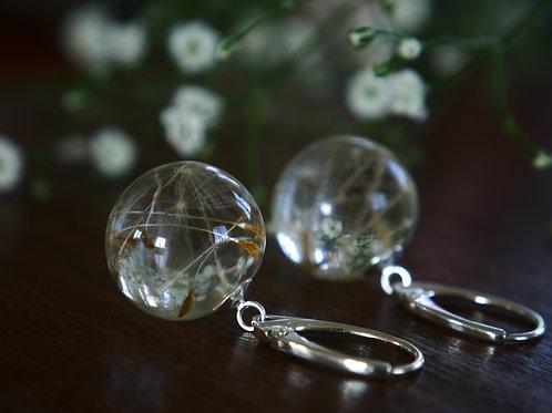 Dandelion seed resin sphere drop earrings