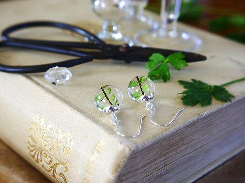 Slovenian tiny wild fern sterling silver drop earrings