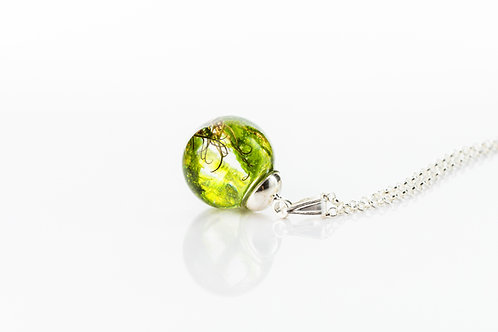 Moss sterling silver resin sphere necklace