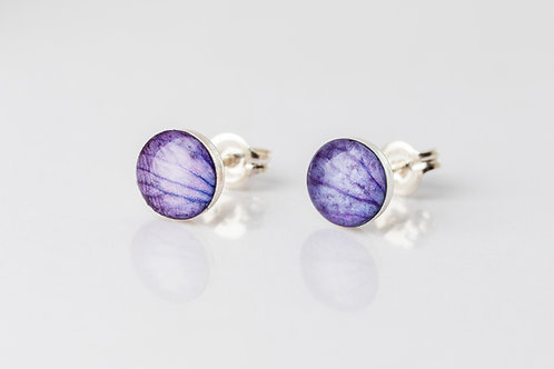 Lilac hydrangea sterling silver resin studs
