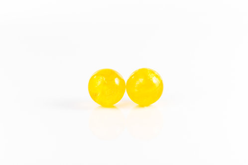 Daffodil petal sterling silver resin stud earrings