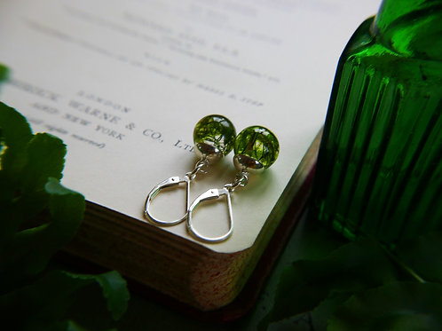 Tiny moss lever back sterling silver earrings