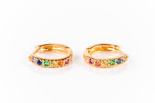 Rainbow gold plated sterling silver huggies