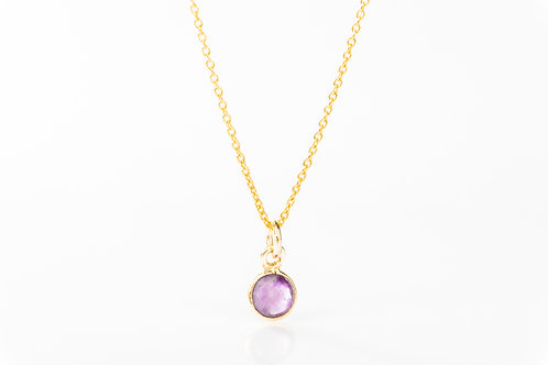 Tiny amethyst gold fill precious gemstone necklace